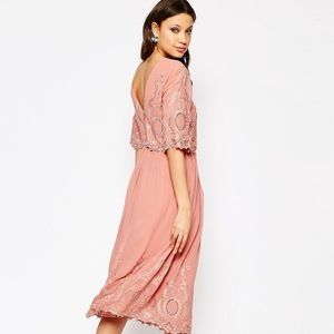 ASOS midi embroidered dress